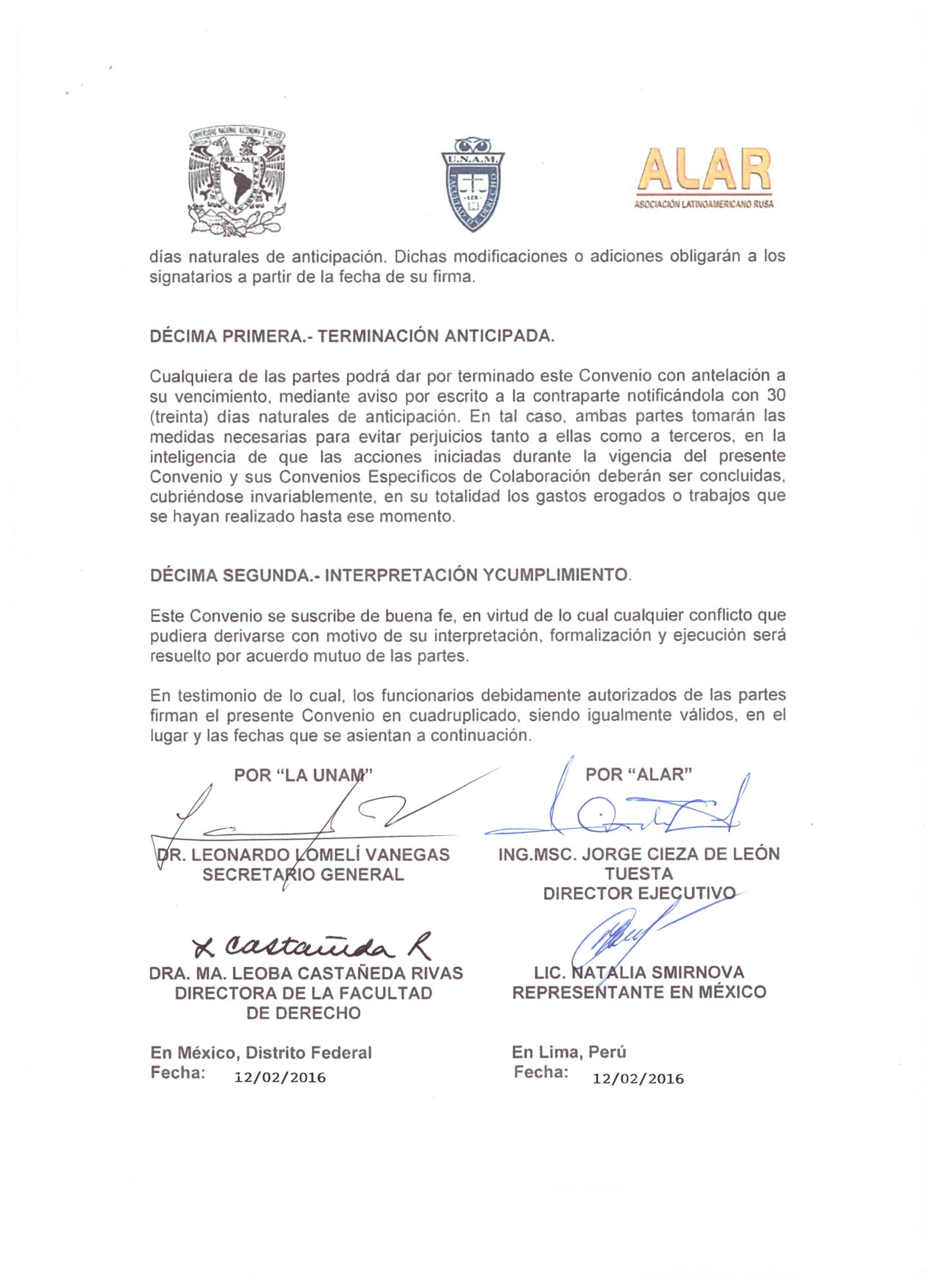 Convenio Interinstitucional entre la Universidad Nacional Autónoma de México (UNAM) y ALAR