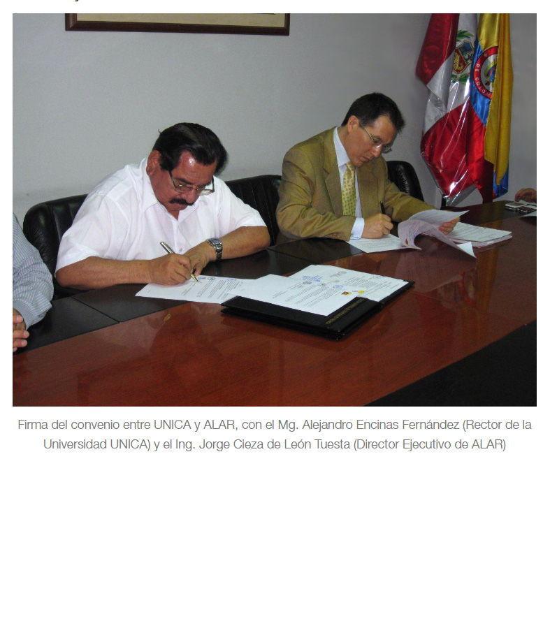 Convenio Interinstitucional entre la Universidad Nacional San Luis Gonzaga de Ica (UNICA)