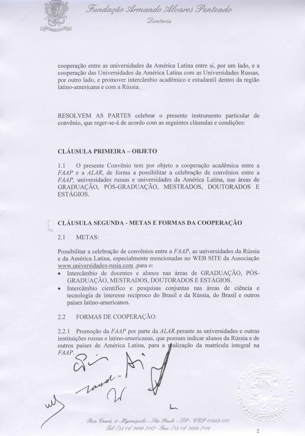 Convenio con la Fundación Armando Álvares Penteado – FAAP