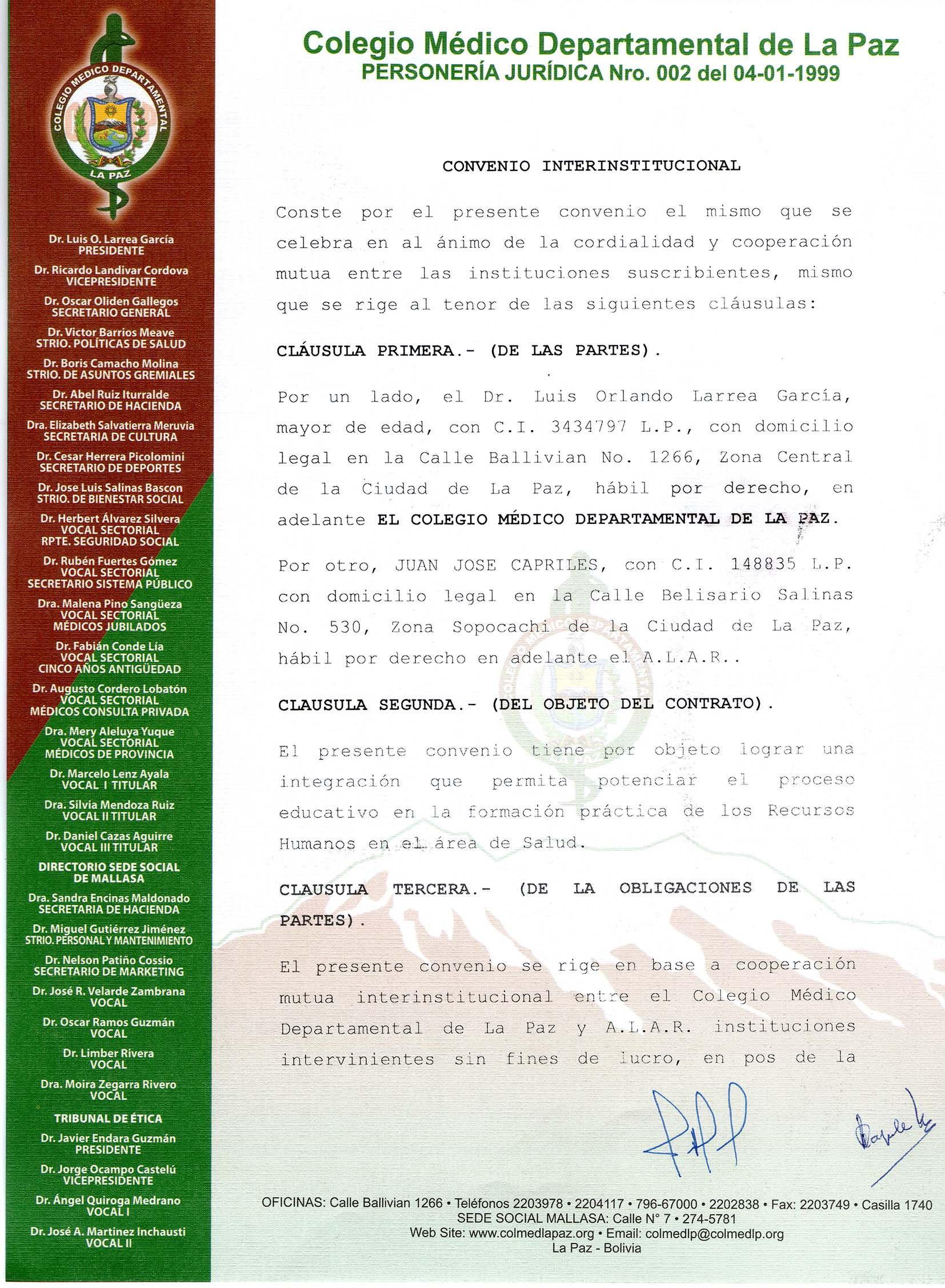 Convenio con el Colegio Médico de La Paz